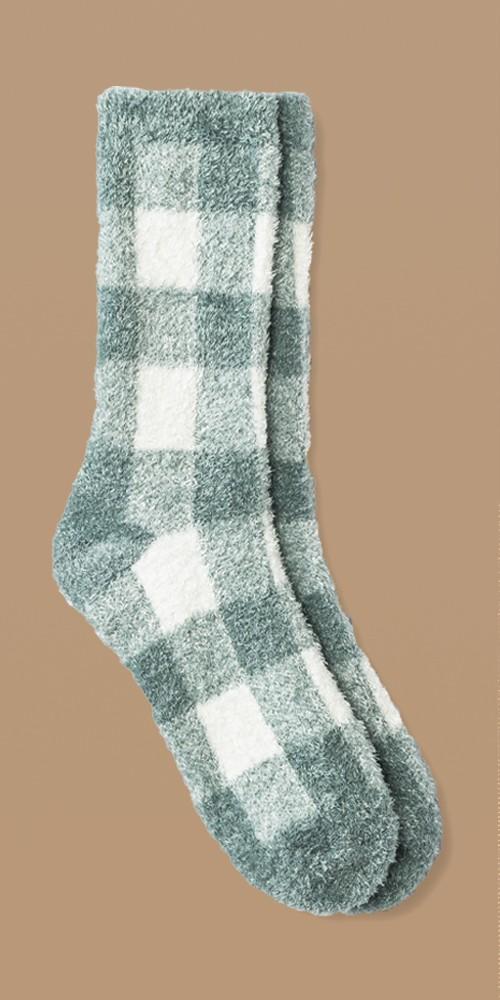 Women's Buffalo Plaid Cozy Crew Socks - A New Day™ Surf Blue/Ivory 4-10