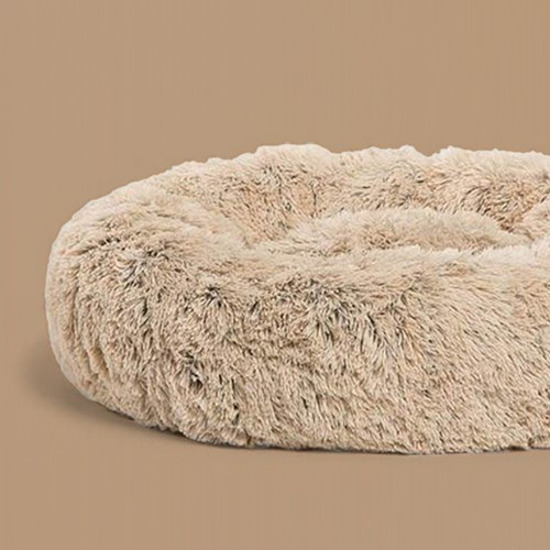 Best Friends by Sheri Luxury 23 Inch Shag Faux Fur Donut Dog Cat Pet Bed, Taupe