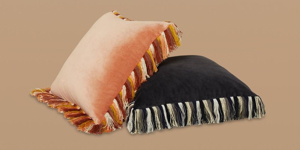 Velvet Square Throw Pillow with Fringe Terracotta - Opalhouse™ designed with Jungalow™, Velvet Square Throw Pillow with Fringe Dark Gray - Opalhouse™ designed with Jungalow™