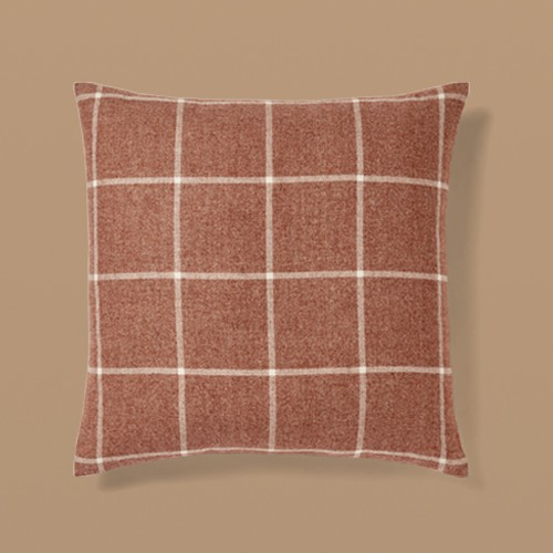 Oversized Windowpane Plaid Square Throw Pillow Copper - Threshold™, Oversized Woven Plaid Lumbar Throw Pillow with Exposed Zipper Brown/Cream - Threshold™ designed with Studio McGee