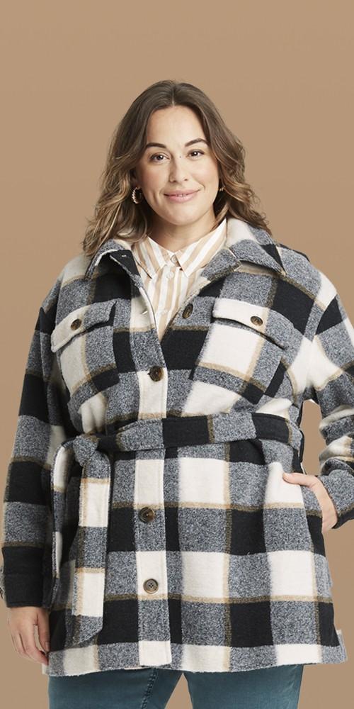 Women's Plus Size Plaid Shirt Shacket - Ava & Viv™ Gray X