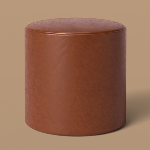 Bodrum Round Upholstered Ottoman Caramel Faux Leather - Project 62™