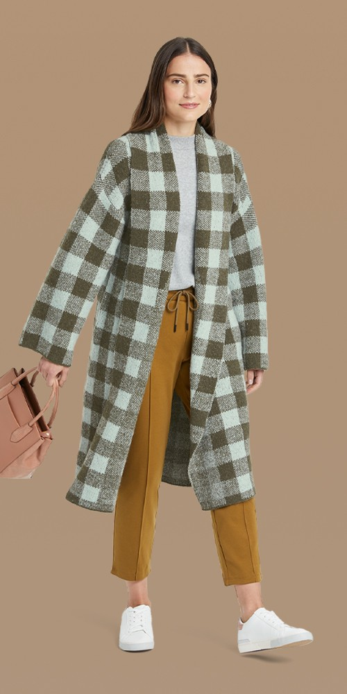 Women's Open-Front Sweater Cardigan - A New Day™ Green Plaid XS