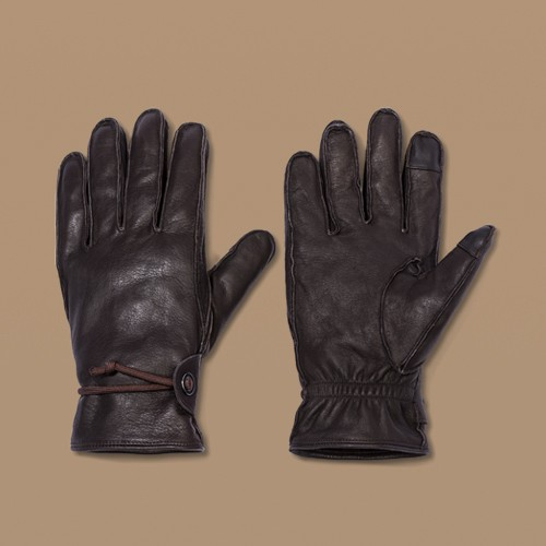 Men's Lined Leather Glove with Cords - Goodfellow & Co™ Brown L/XL