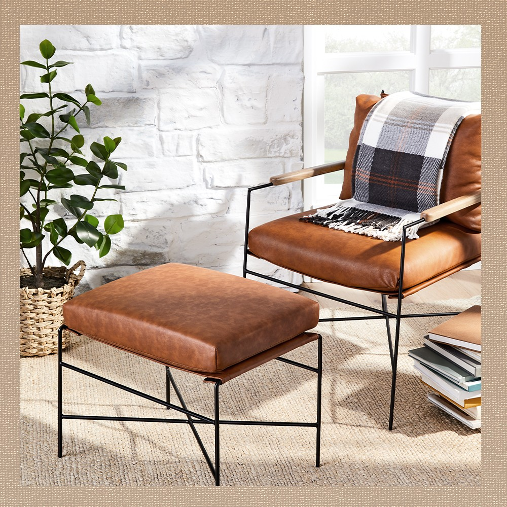 """Faux Leather & Metal Ottoman - Hearth & Hand™ with Magnolia, Faux Leather & Metal Accent Chair - Hearth & Hand™ with Magnolia, Outdoor Fall Tartan Plaid Fringe Throw Blanket - Hearth & Hand™ with Magnolia, 40"""" Faux Autograph Tree in Planter - Hearth & Hand™ with Magnolia"""