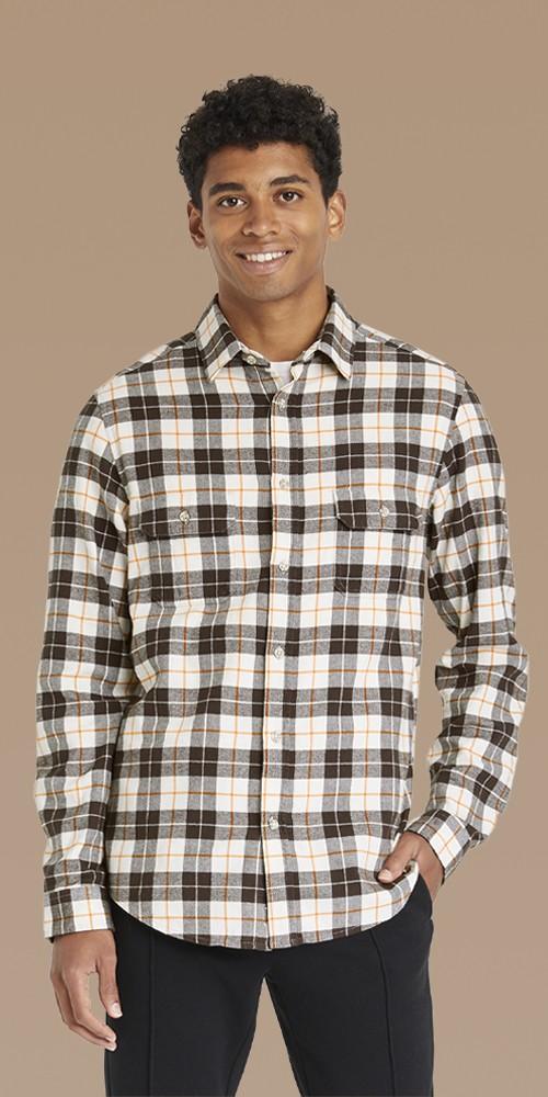 Men's Plaid Standard Fit Premium Flannel Long Sleeve Button-Down Shirt - Goodfellow & Co™ Chalk White/Plaid S