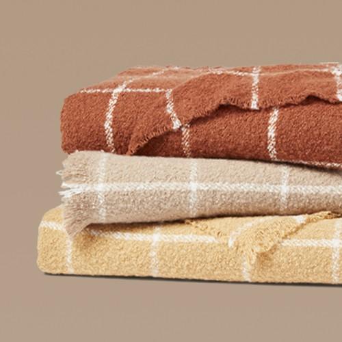 Boucle Windowpane Plaid Throw Blanket Neutral - Threshold™, Boucle Windowpane Plaid Throw Blanket Gold - Threshold™, Boucle Windowpane Plaid Throw Blanket Copper - Threshold™
