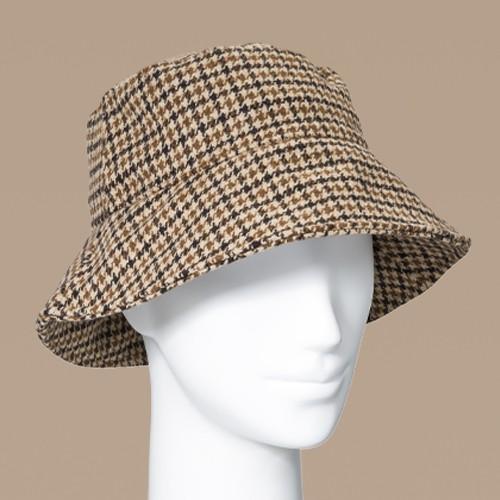 Women's Plaid Felt Bucket Hat - A New Day™ Brown