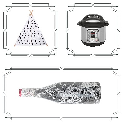 A Frame Tent - White and Black - Pillowfort™, Instant Pot Duo 80 8 Qt Pressure Cooker, Wine Lace Bottle Cover