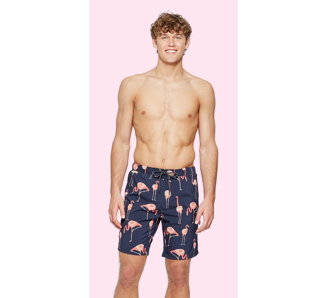 Men's Flamingo-Dark Slate Swim Trunks - No Retreat Slate Pink