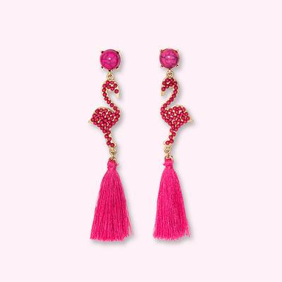 SUGARFIX by BaubleBar Flamingo Drop Earrings with Tassels - Pink