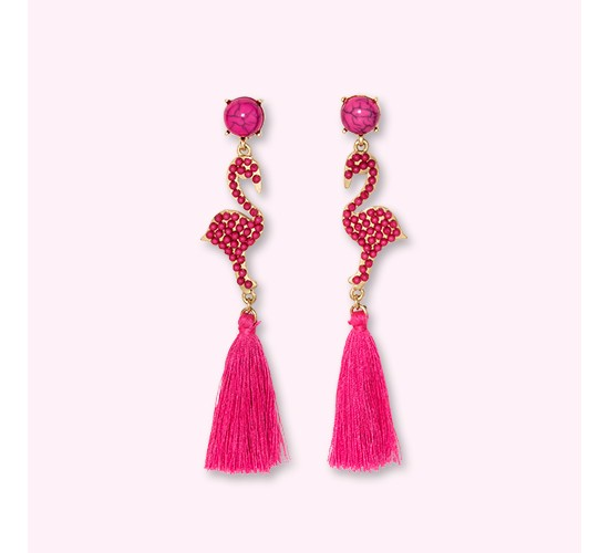 SUGARFIX by BaubleBar Flamingo Drop Earrings with Tassels - Pink