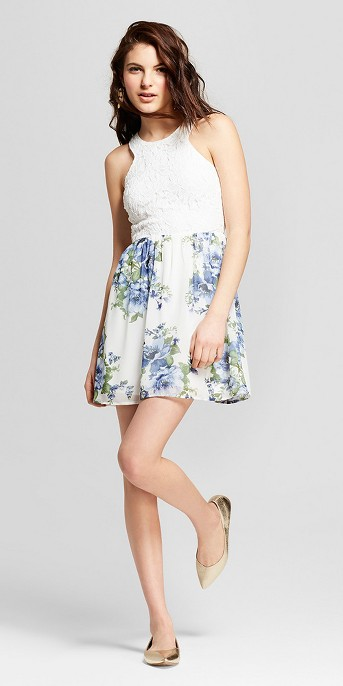 Women's Floral Print Lace Dress - Lots of Love by Speechless (Juniors') White