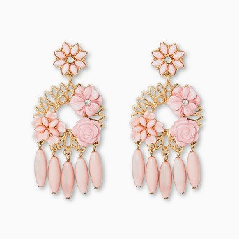 SUGARFIX by BaubleBar Mixed Media Floral Drop Earrings - Light Pink