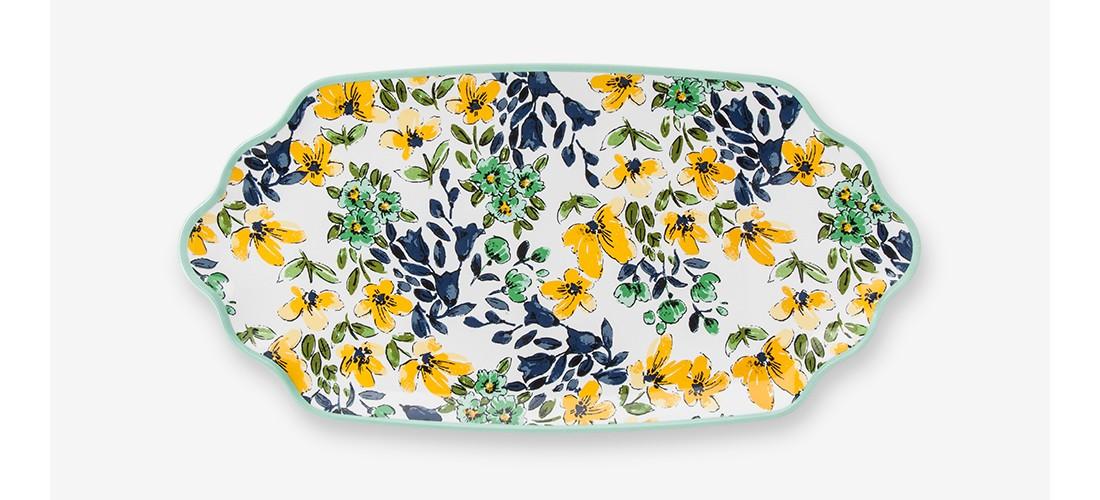 Rectangular Melamine Serving Platter Yellow/Blue Floral - Threshold™