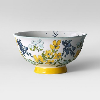Round Glazed Stoneware Dinner Bowl 17oz Yellow Floral - Threshold™