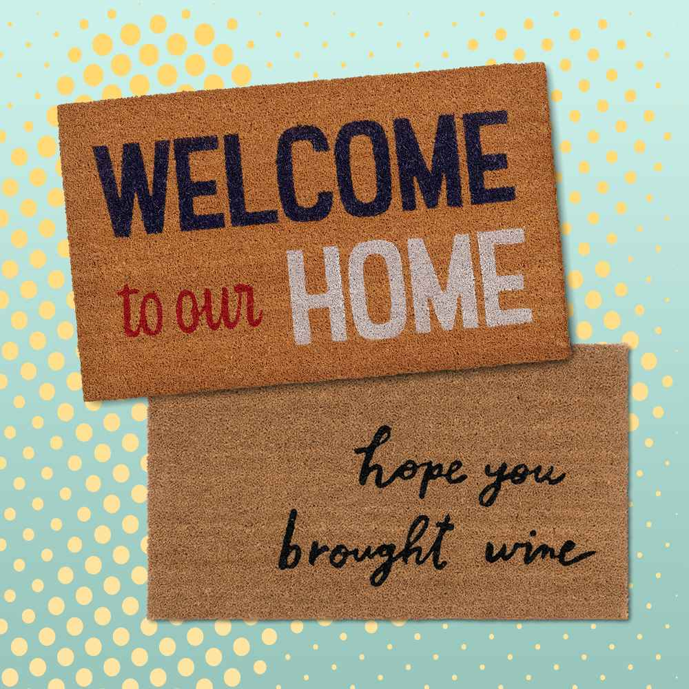 """1'6""""x2'6"""" 'Welcome To Our Home' Doormat - Sun Squad™, 1'6""""x2'6"""" Hope You Brought Wine Coir Doormat Tan/Black - Threshold™"""