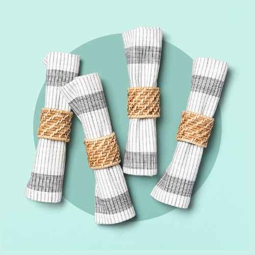 4pc Woven Napkin Ring Set - Hearth & Hand™ with Magnolia, 4pk Bold Stripes Napkin Set Dark Gray - Hearth & Hand™ with Magnolia