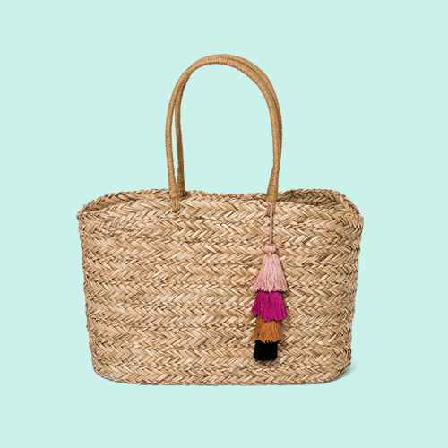 Straw Large Dome with Tassels Tote Handbag - A New Day™ Natural