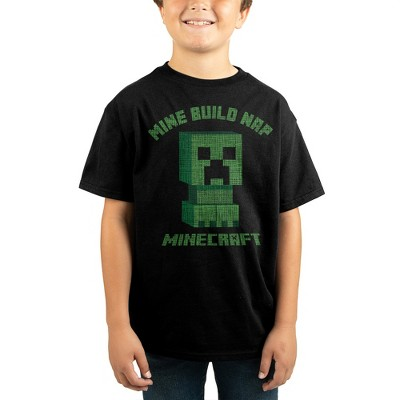 Minecraft Building Video Game Youth Boys Black Graphic Tee