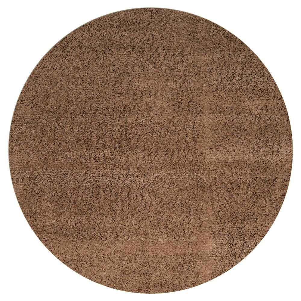 Taupe (Brown) Solid Shag and Flokati Tufted Round Accent Rug 4' - Safavieh