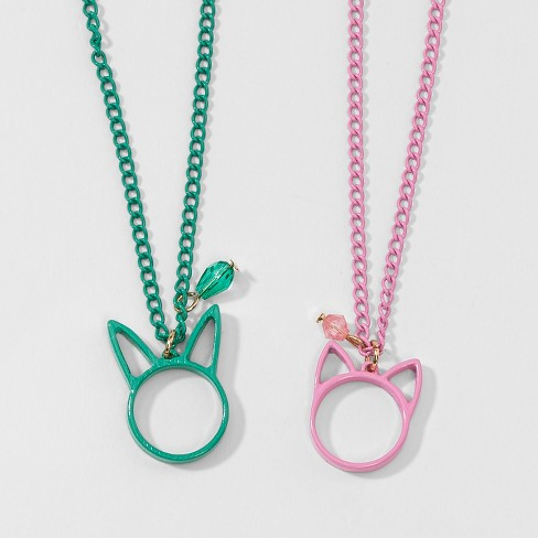 Girls' 2pk Bunny & Cat BFF Pendant Necklaces - Cat & Jack™ One Size - image 1 of 2