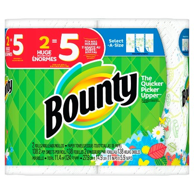Bounty Select-A-Size Printed Paper Towels - 2 Huge Rolls