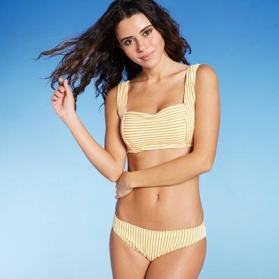 Women's Light Lift Square Neck Wide Strap Ribbed Bikini Top - Shade & Shore™ Spiced Yellow & White Stripe