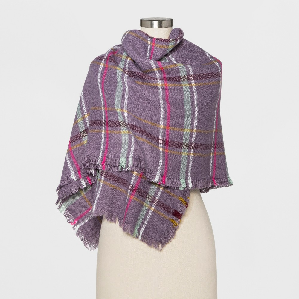 Women's Plaid Blanket Scarf - A New Day Purple