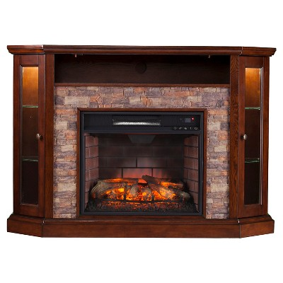 Reza Corner Convertible Infrared Electric Fireplace Media Stand