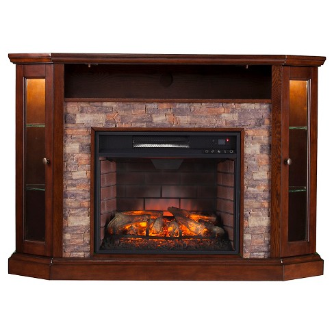 Reza Corner Convertible Infrared Electric Fireplace Media Stand Espresso Aiden Lane