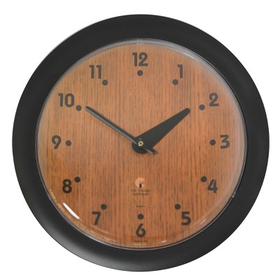 """14"""" x 1.8"""" Oak Veneer Traditional Decorative Wall Clock Black Frame - By Chicago Lighthouse"""