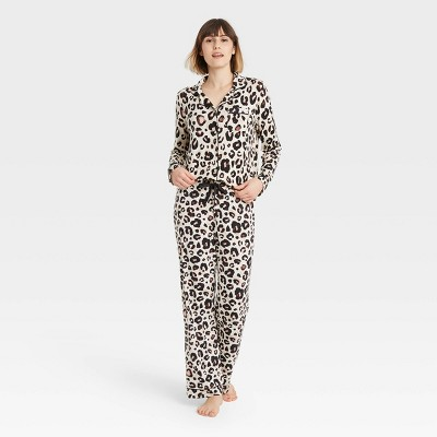 Women's Leopard Print Beautifully Soft Long Sleeve Notch Collar Top and Pants Pajama Set - Stars Above™ Light Beige L
