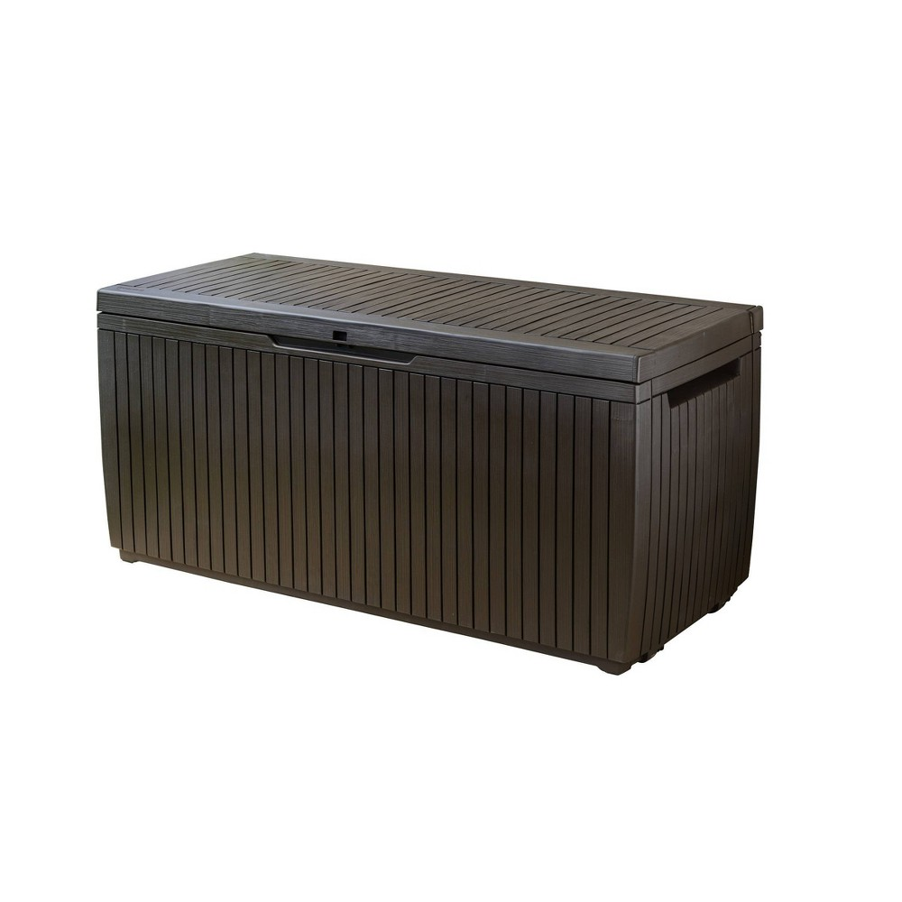 Image of 80 Gal Springwood Outdoor Resin Storage Deck Box Brown - Keter