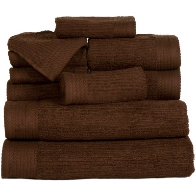 Solid Bath Towels And Washcloths 10pc Chocolate - Yorkshire Home