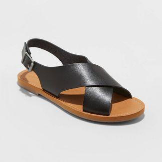 Women's Sarina Faux Leather Crossband Slide Sandals - Universal Thread™ Black 7.5