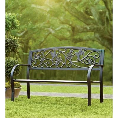 Cast Aluminum Outdoor Garden Bench With Hummingbird Design ...