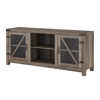 """Clarabelle Farmhouse Glass Barn Door TV Stand for TVs up to 65"""" Gray Wash - Saracina Home"""