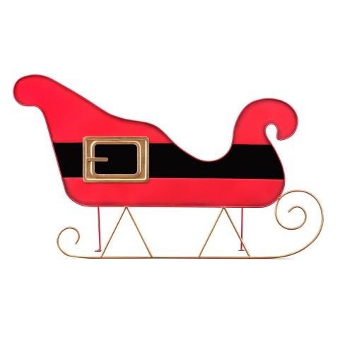 Mr Christmas Oversized Indoor Outdoor Metal 2d Sign Sleigh Santa Belt 30 Target