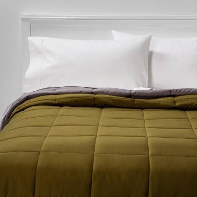 Full/Queen Reversible Microfiber Solid Comforter Olive/Gray - Room Essentials™