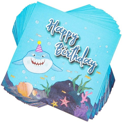 Blue Panda 100 Pack Shark Happy Birthday Party Paper Disposable Napkins 6 5 For Tableware Decoration Target