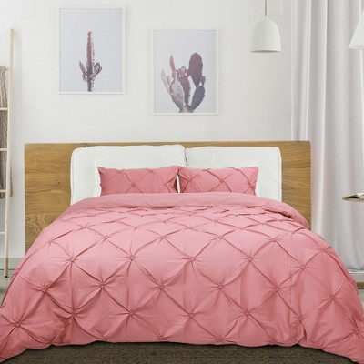 3 Pcs Polyester Solid Pinch Pleate Pintuck Bedding Sets Queen Pink - PiccoCasa