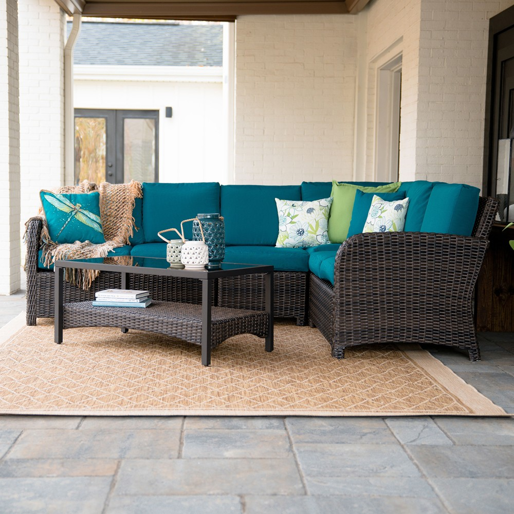 5pc Jackson All-Weather Wicker Corner Sectional Teal (Blue) - Leisure Made