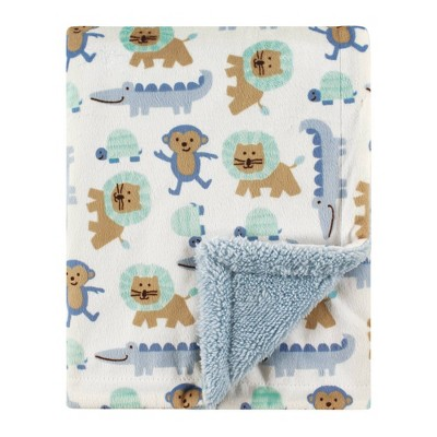 Luvable Friends Unisex Baby Plush Blanket with Sherpa Back - Boy Jungle