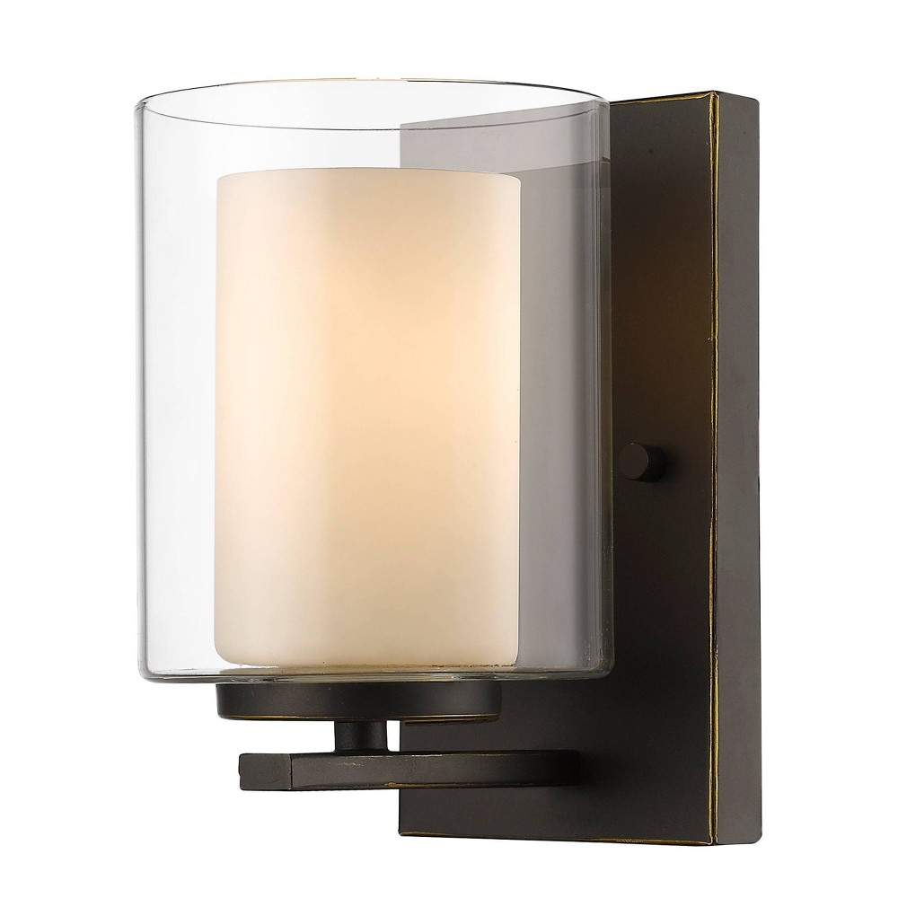 1 Light Sconce With Glass Old Bronze Aurora Lighting