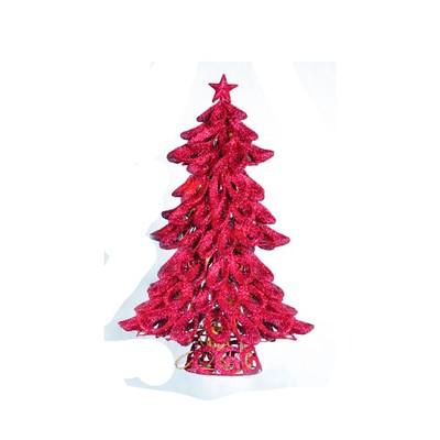 "Lynn Roberts 20"" Prelit Artificial Christmas Tree Looped Fuchsia Pink Glitter - Clear Lights"
