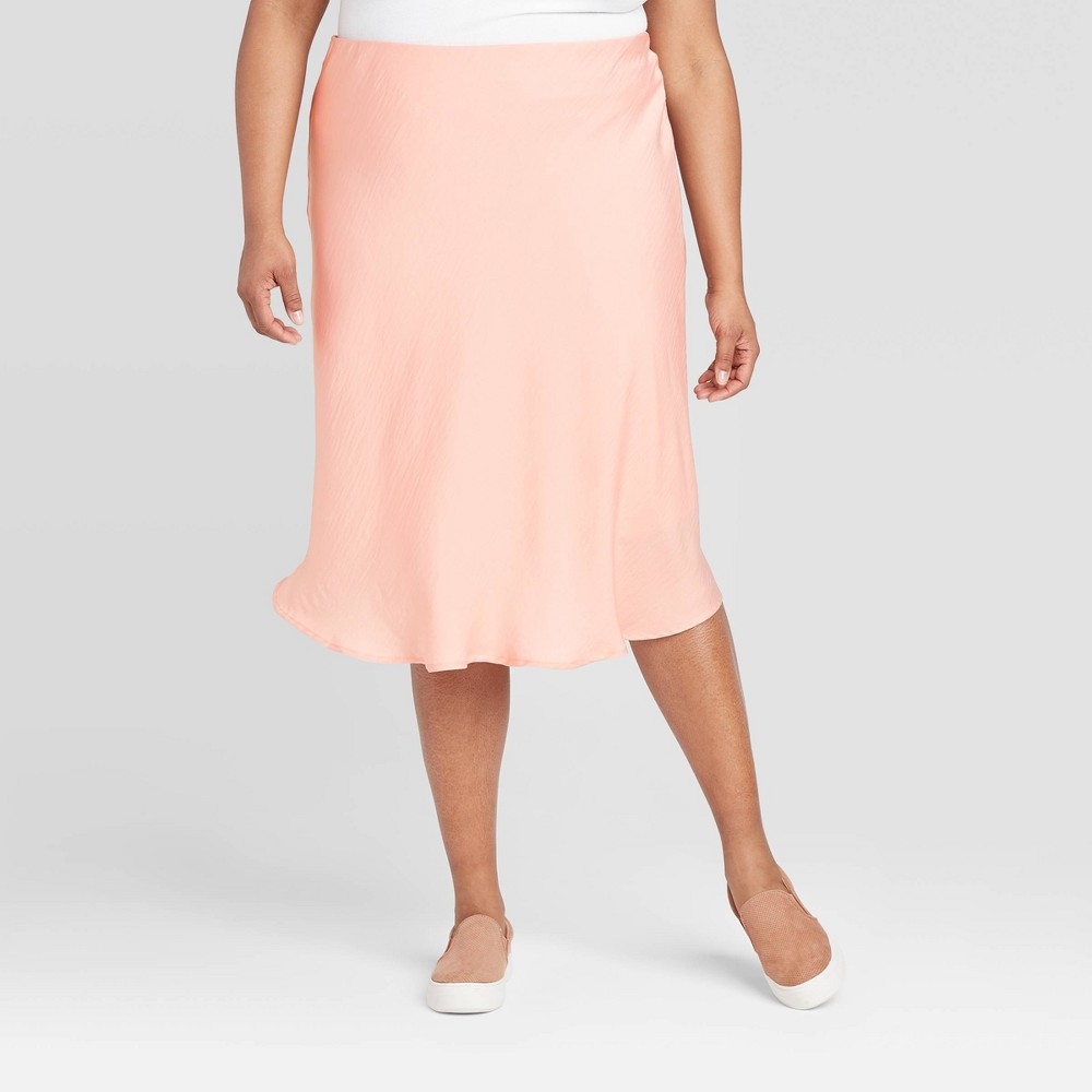 Women's Plus Size Satin Slip Skirt - A New Day Pink 1X, Women's, Size: 1XL was $22.99 now $14.94 (35.0% off)