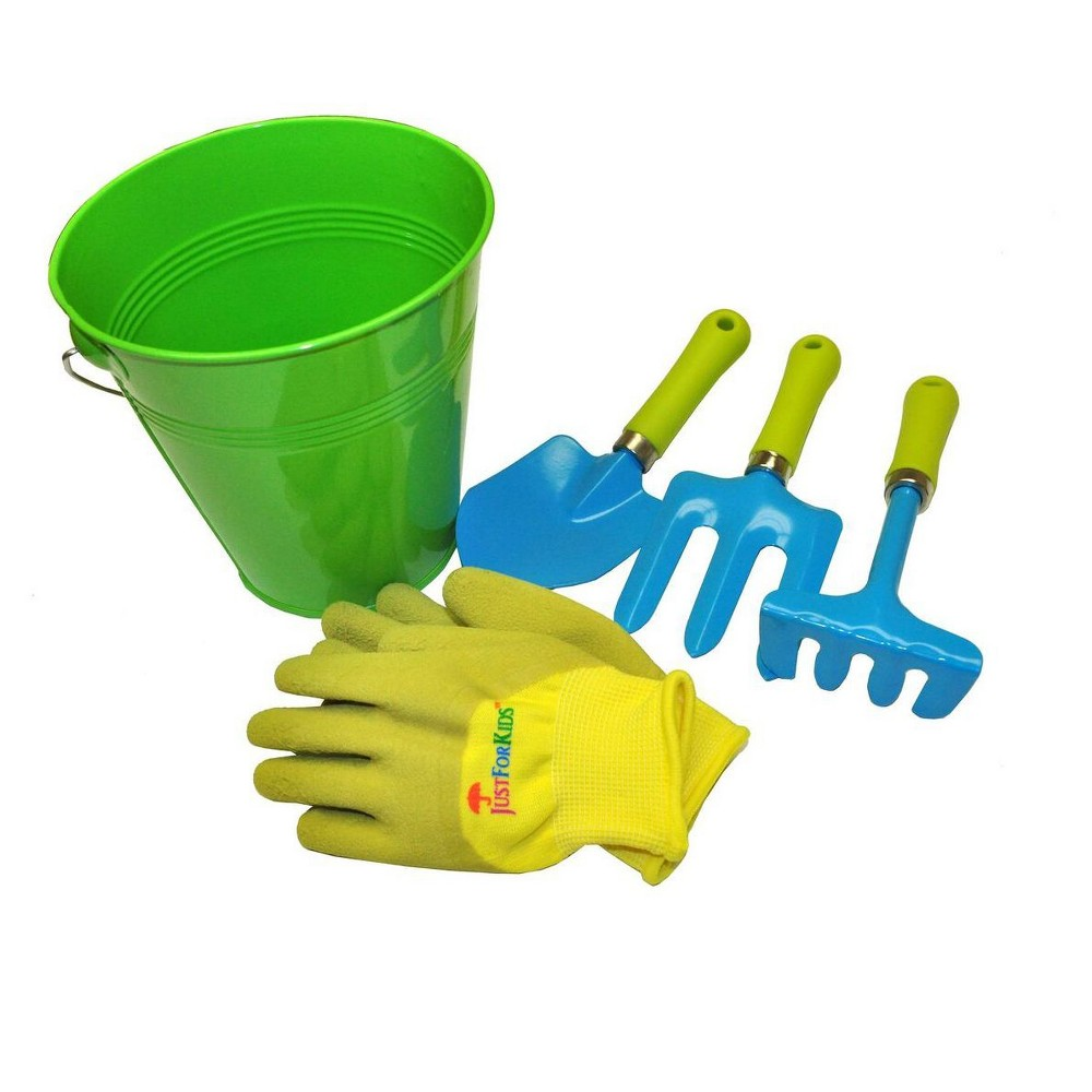 Image of Kids Water Pail with Garden Tools Set and Gloves Green - Justforkids