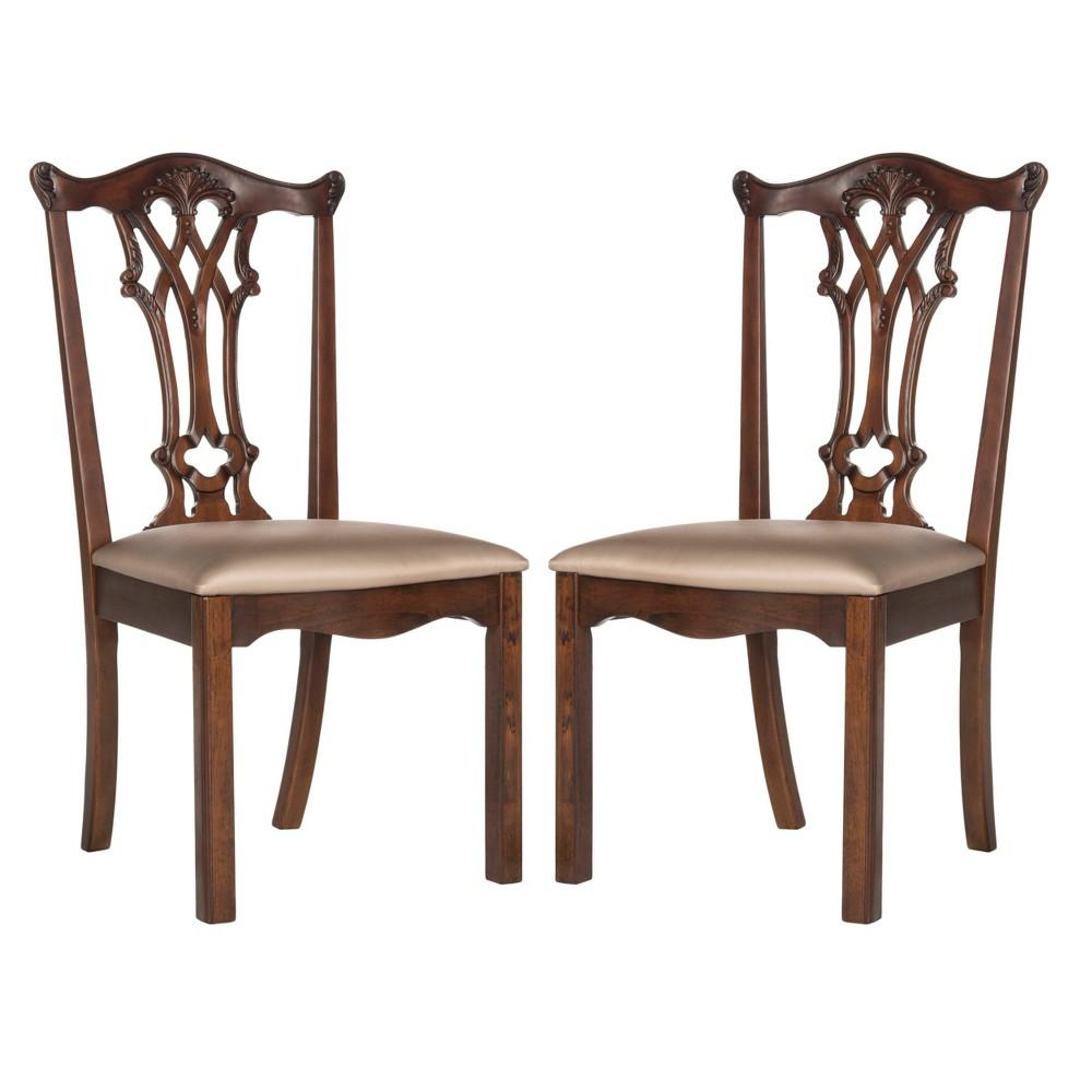 Set of 2 Dining Chairs Ivory Mahogany - Safavieh