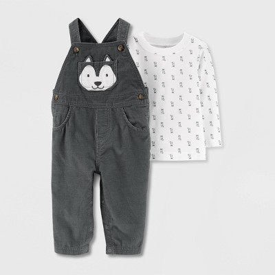 Baby Boys' 2pc Husky Dog Overall & Shirt Set - Just One You® made by carter's White/Gray 3M